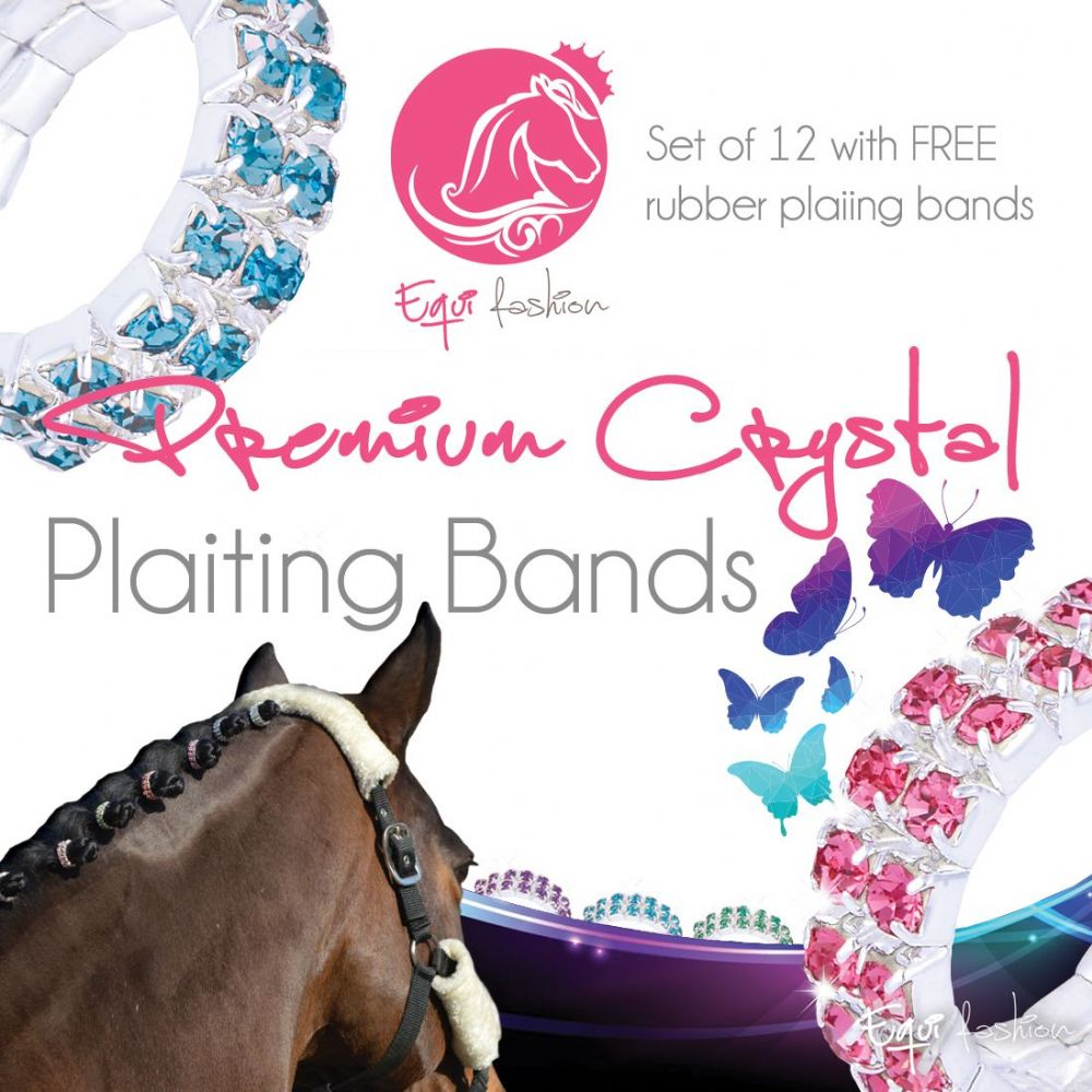 Equifashion Horse Crystal Plaiting Bands - Double Row
